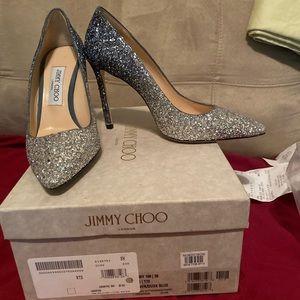 Jimmy Choo 100MM Romy Pump Silver Dusk Blue